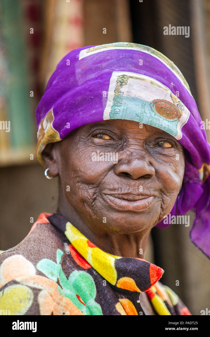Accra Ghana March 6 2012 Unidentified Ghanaian Toothless Old Lady Smiles In The Street In Ghana People Of Ghana Suffer Of Poverty Due To The Uns