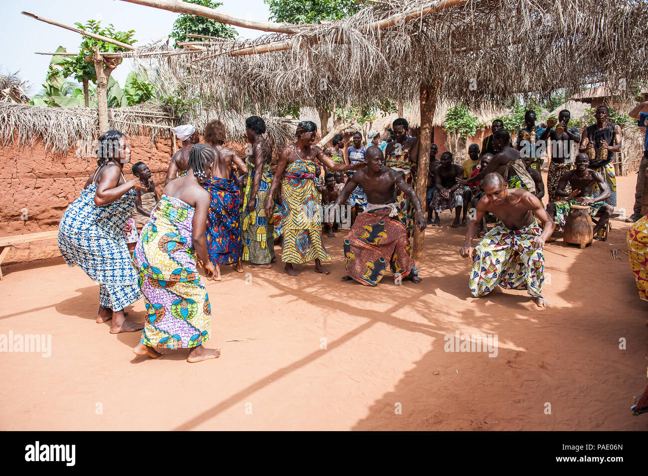 KARA, TOGO - MAR 11, 2012:  Unidentified Togolese people dance  the religious voodoo dance. Voodoo is the West African religion Stock Photo