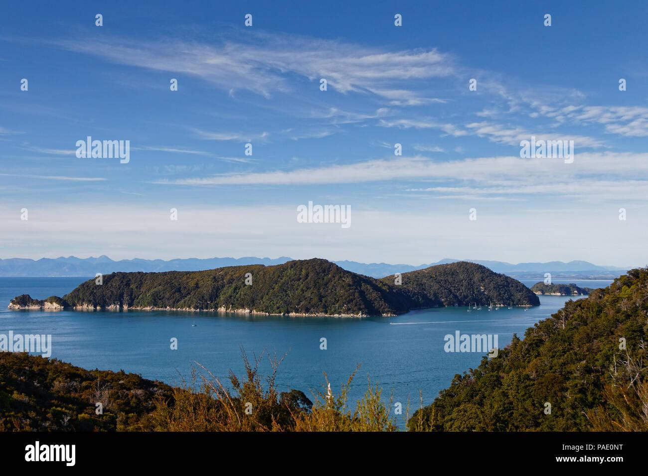 Adele Island viewed from the Abel Tasman Coastal Track, New Zealand - Stock Image