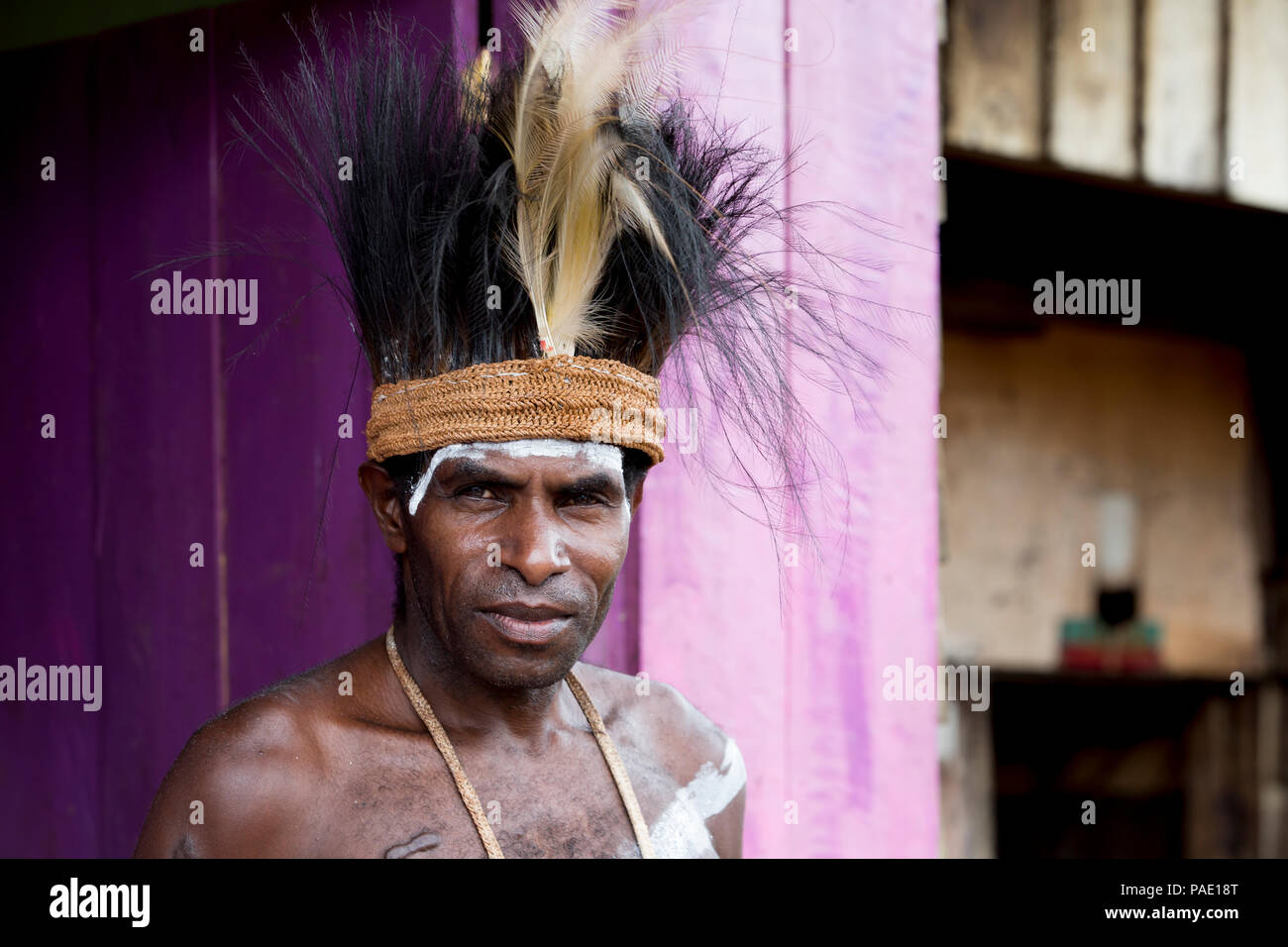 Portrait, Asmat Tribe, Agats Village, Western New Guinea, Papua, Indonesia - Stock Image