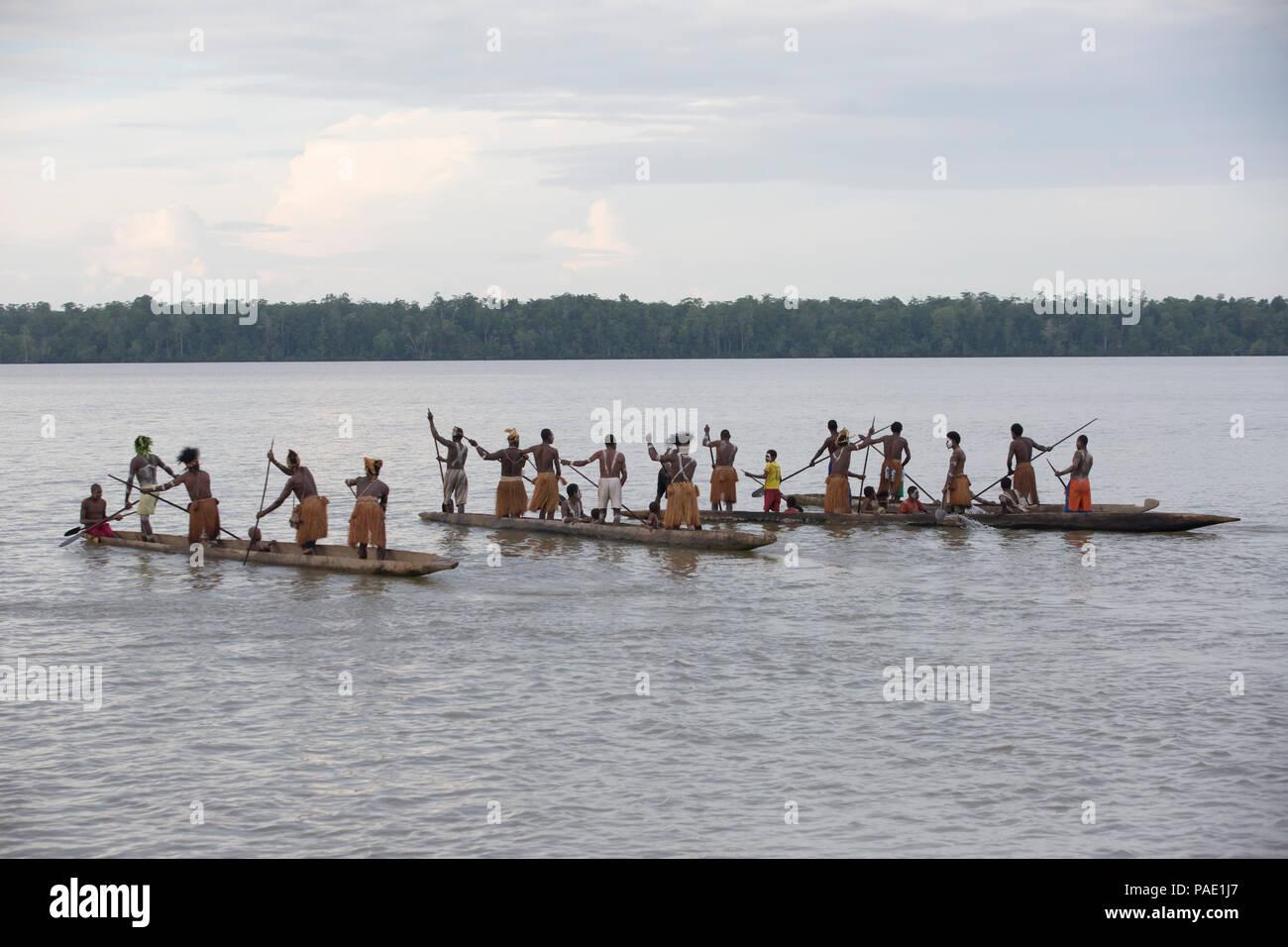 Canoe demonstration, West Papua - Stock Image