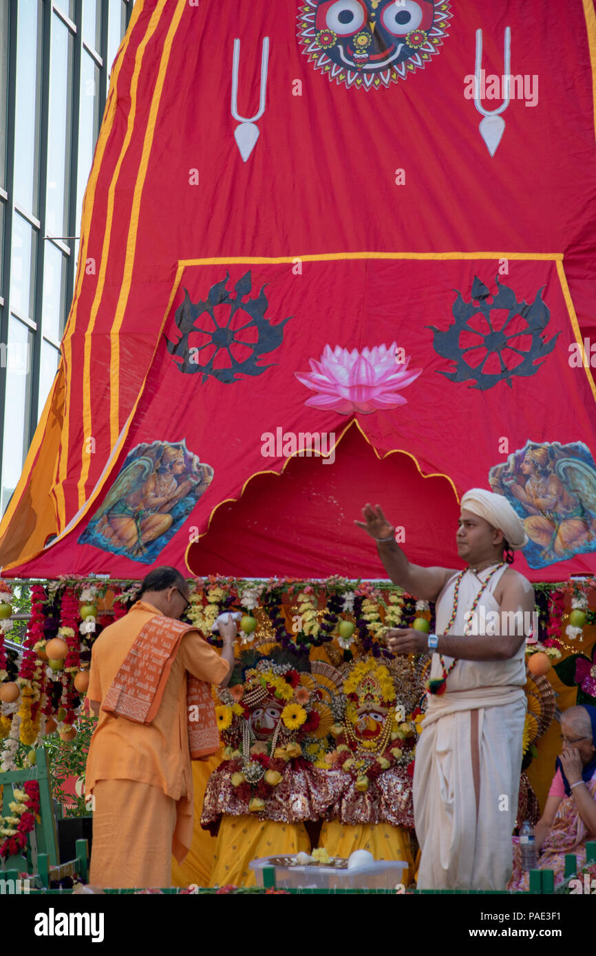 Bestowing blessings upon the crowd at Ratha Yatra on Stephen Avenue, Downtown Calgary, Alberta, Canada. - Stock Image