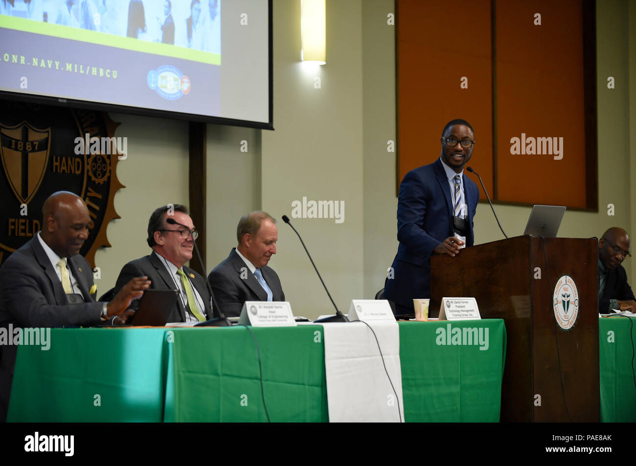 TALLAHASSEE, Fla. (Sep. 21, 2017) Dr. Demetrius Geddis, associate professor, Norfolk State University, participates in a panel discussion during the Department of Navy (DoN) Historically Black Colleges and Universities/Minority Institutions (HBCU/MI) Naval Opportunity Awareness Workshop at Florida A&M University. The DoN HBCU/MI program is designed to increase the participation of HBCU/MIs in the Navy's research, development, test and evaluation (RDT&E) programs and activities. - Stock Image