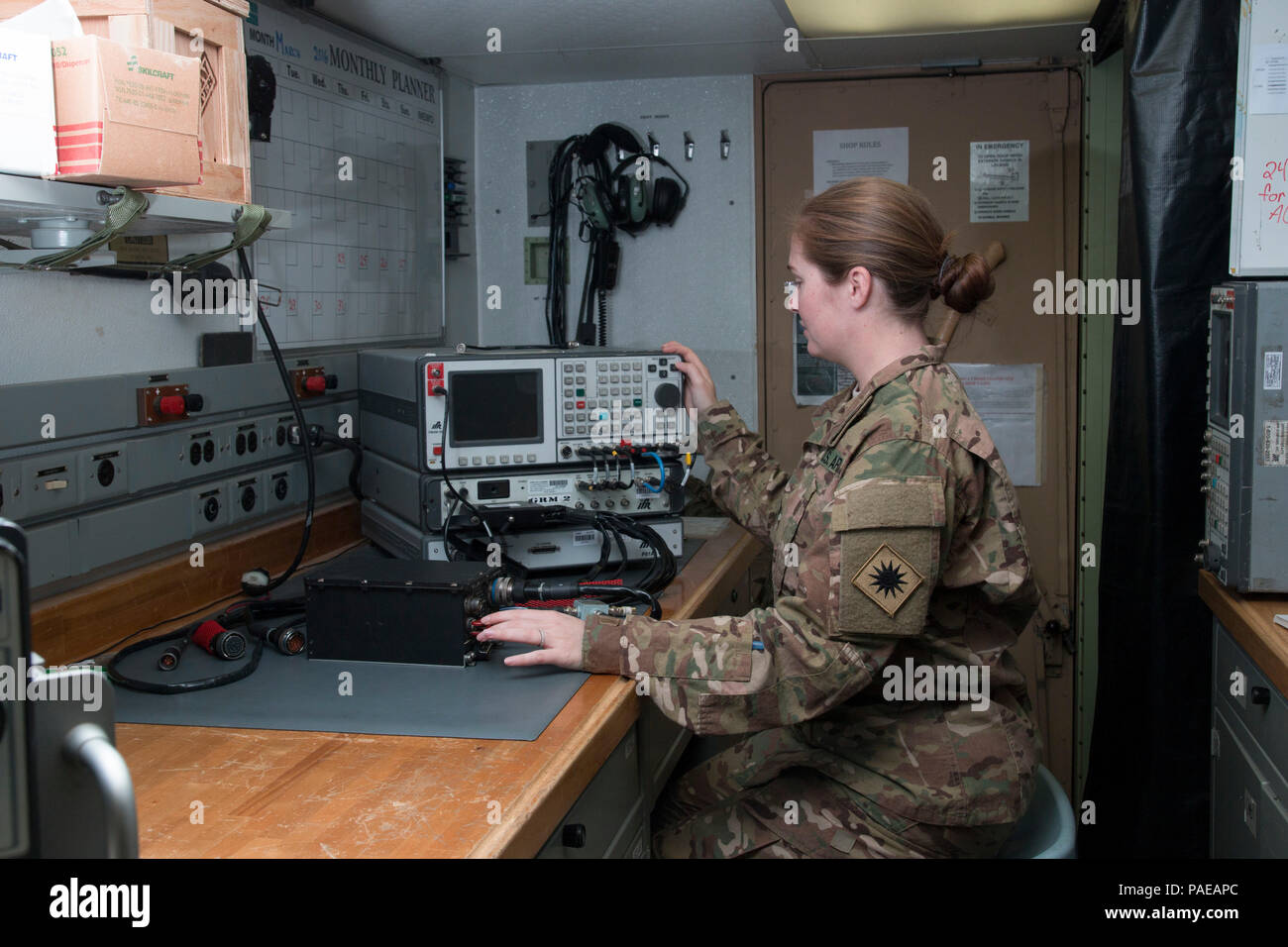 Spc  Selena Landers, a radio communications and security
