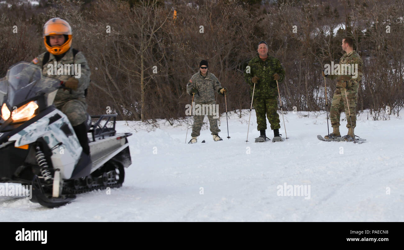 Canadian Army Col. Martin Frank, U.S. Army Alaska deputy commander-operations, snowshoes with two USARAK Soldiers at Black Rapids Training Site, Alaska March 22, 2016. Stock Photo