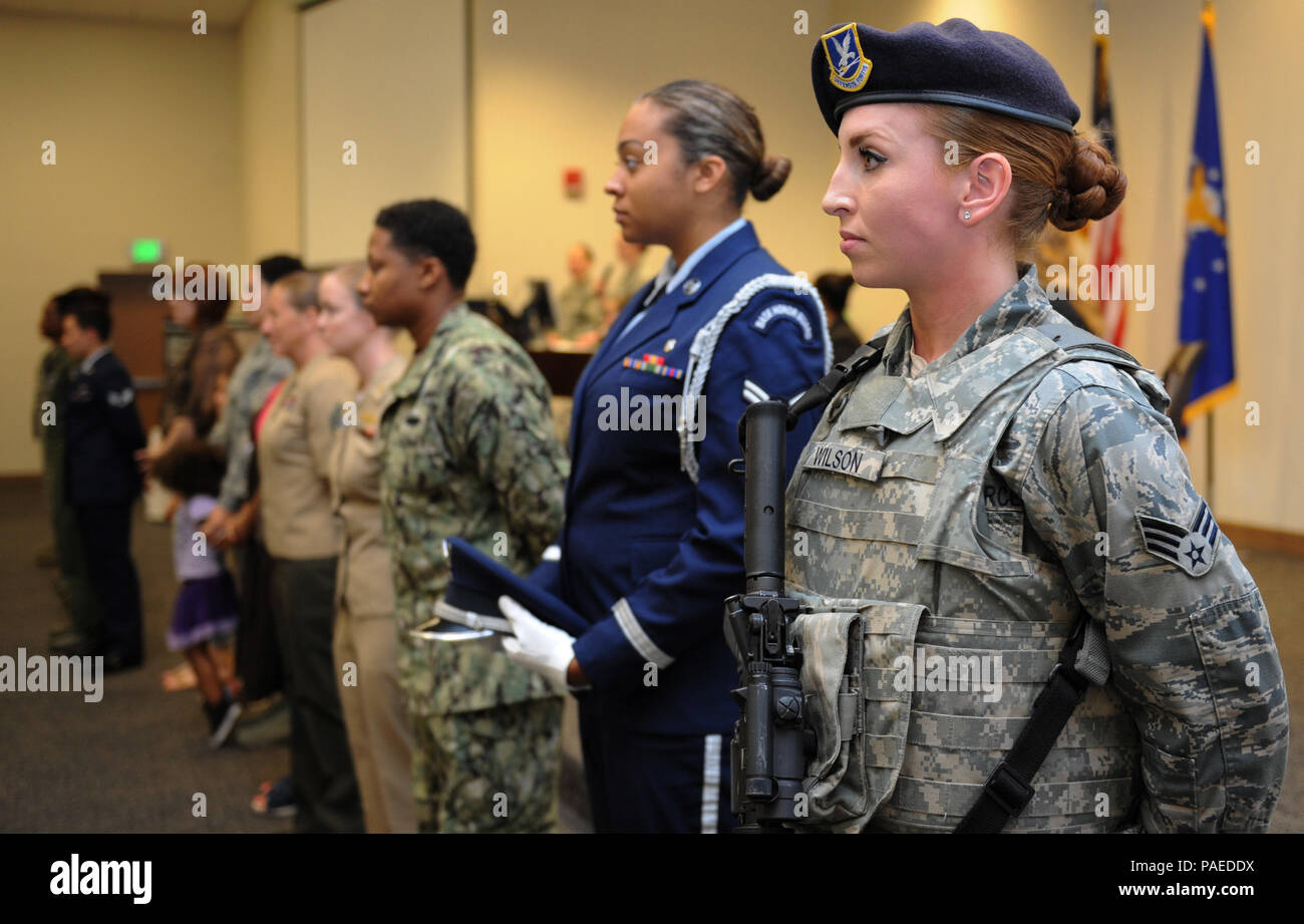 Senior Airman Catherine Wilson 81st Security Forces Squadron Electronic Security Systems And Defense Biometric Identification System Technician Stands Among Fellow Service Members During The National Women S History Fair At The Roberts Consolidated