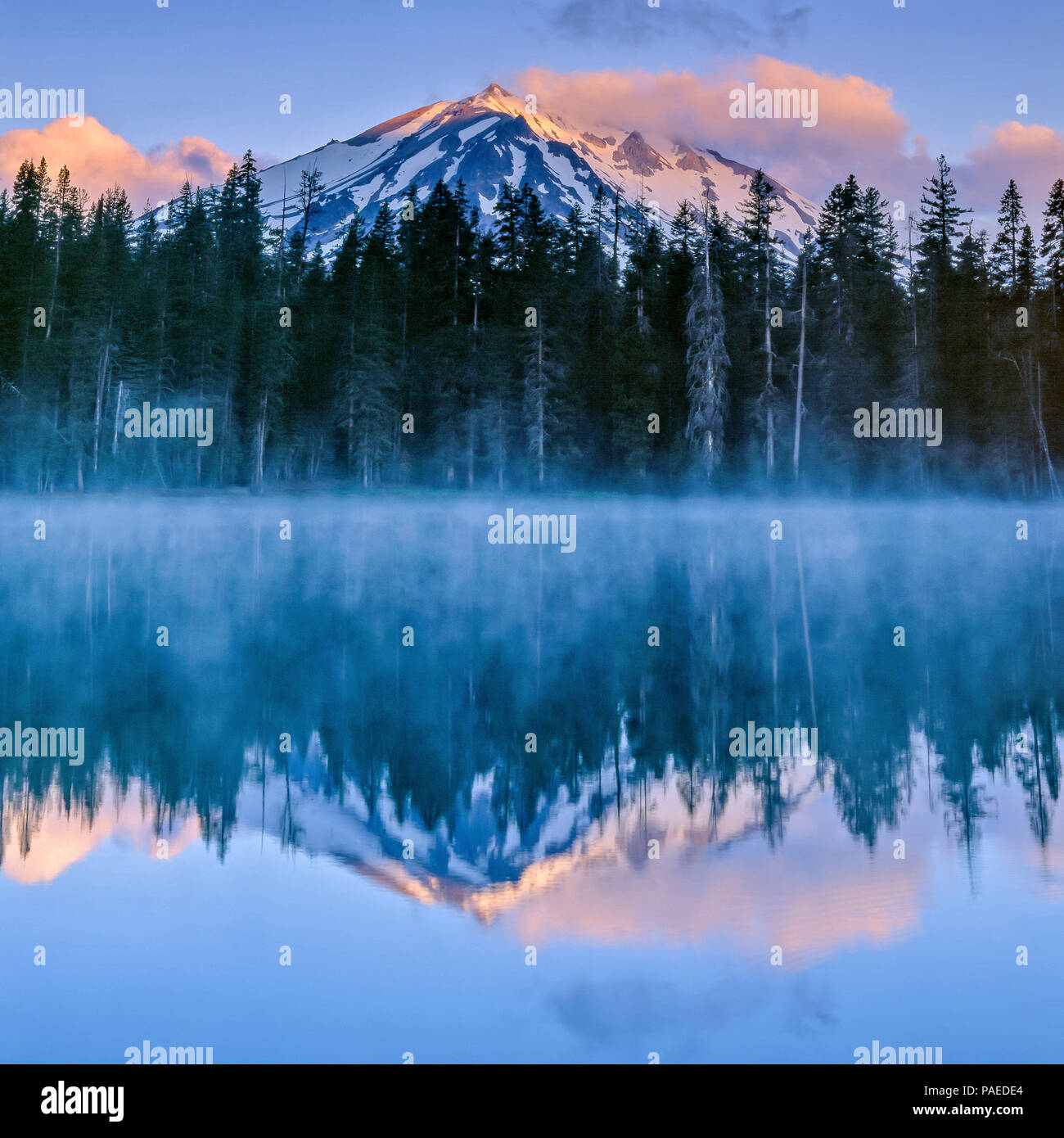Dawn, Summit Lake, Lassen Volcanic National Park, California - Stock Image