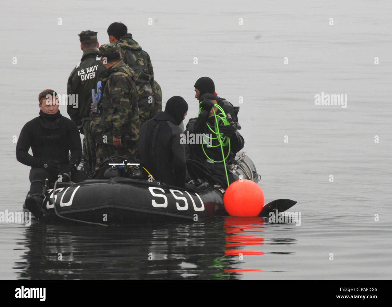 CHINHAE, Republic of Korea (Mar. 19, 2009) Seabees from Underwater Construction Team (UCT) 2 and Mobile Diving and Salvage Unit participate in an underwater welding exercise with the Republic of Korea Navy (ROKN).  U.S. Armed Forces are working with Republic of  Korea Armed Forces during Exercise Key Resolve/Foal Eagle 2009, which is an annual joint exercise involving forces from both the United States and the Republic of Korea. U.S. Navy Stock Photo