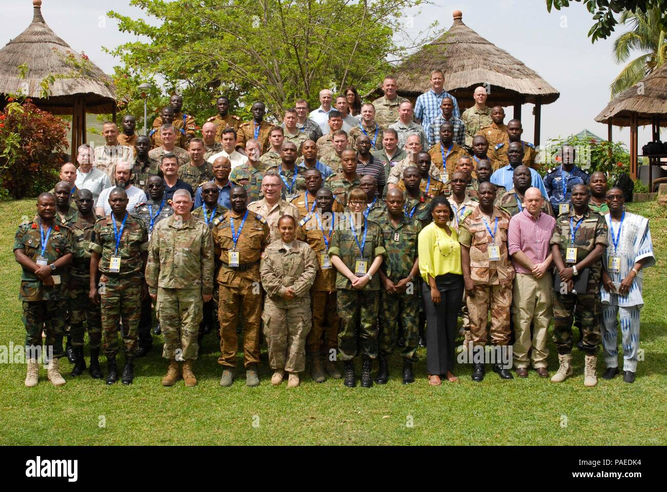 Military Representatives from various African and European countries met for the Western Accord 2016 Final Planning Event in Ouagadougou, Burkina Faso March 21-25, finalized details for the upcoming May exercise. WA 2016 is a two-week exercise with regional African partners and their Western allies designed to strengthen partnerships, enhance capacity and capabilities to conduct joint multinational peacekeeping operations in West Africa. (U.S. Army Africa photo by Sgt. 1st Class Chris Bridson) - Stock Image