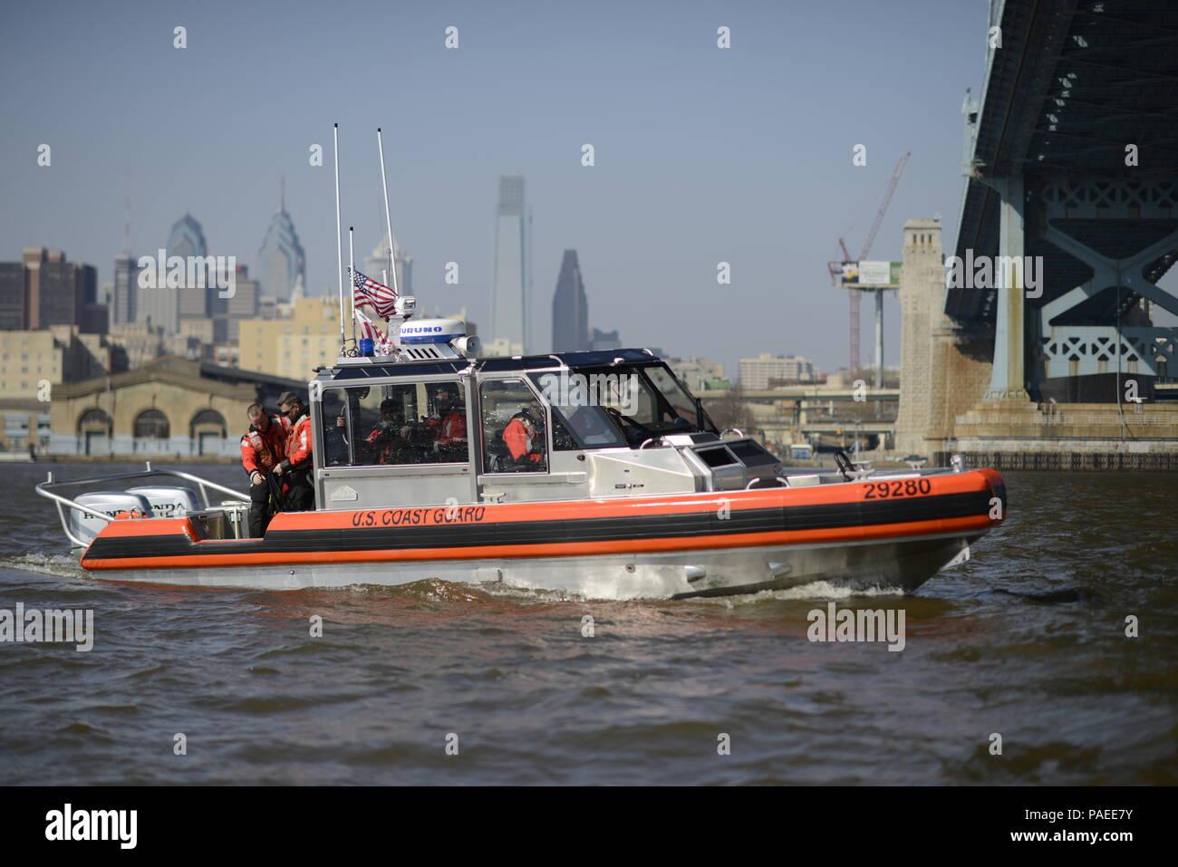 A Coast Guard Station Philadelphia 29-foot Response Boat