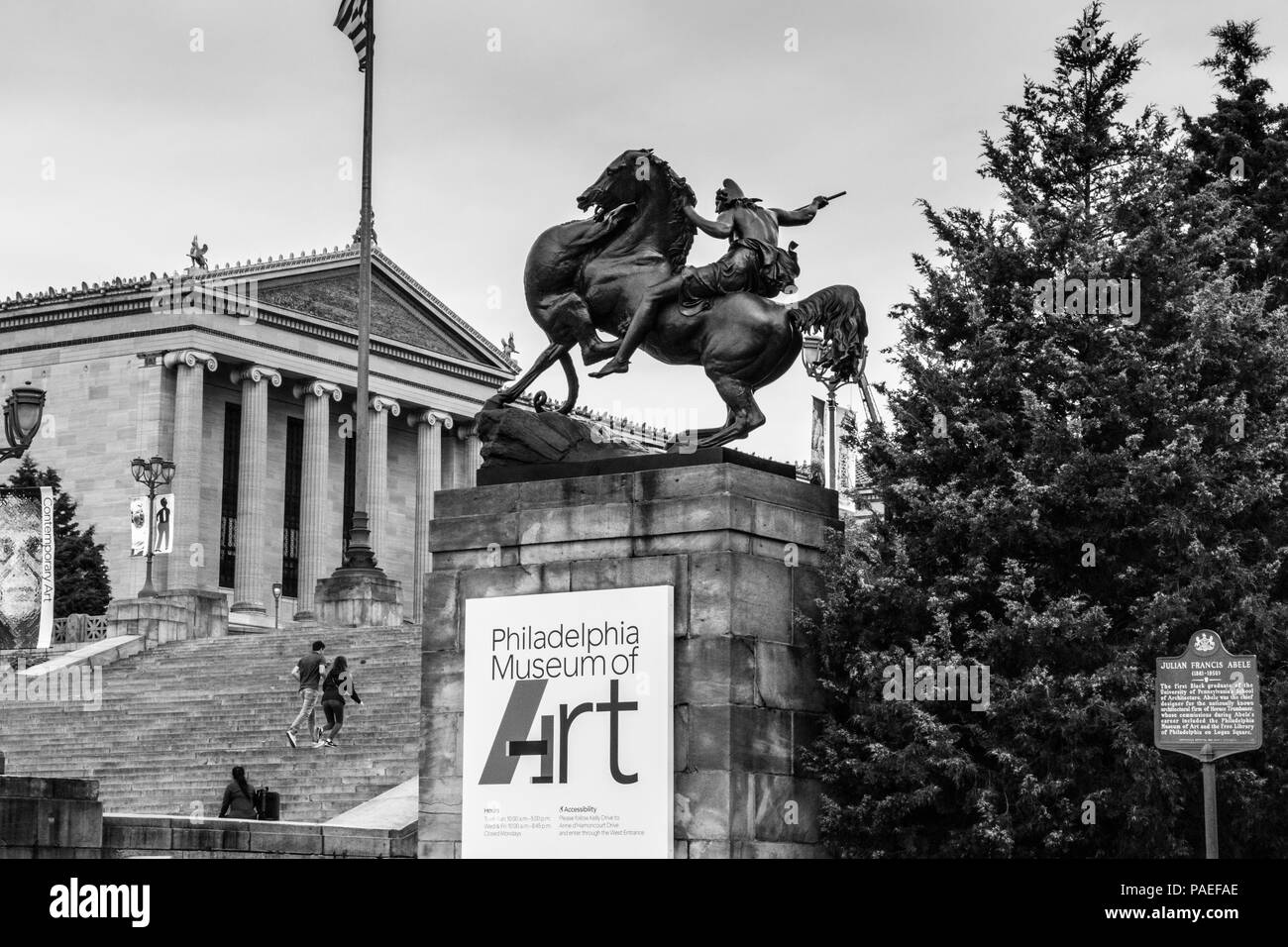 'The Mounted Amazon Attacked by a Panther' - Statue on Rocky Steps, Eakins Oval, Philadelphia, USA - Stock Image