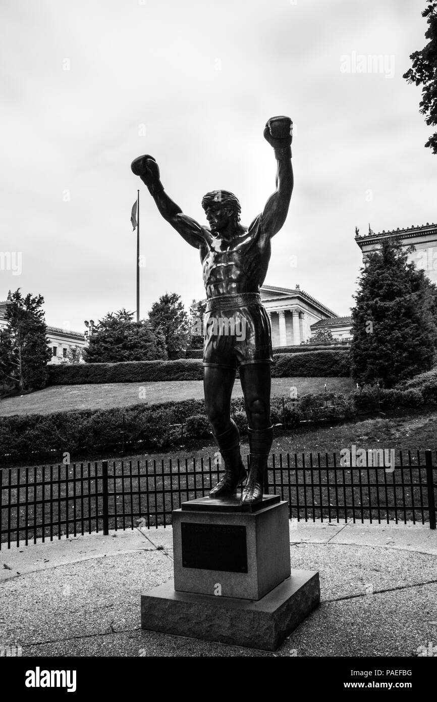 The world famous Rocky Statue next to the 'Rocky Steps', Eakins Oval, Philadelphia, USA - Stock Image