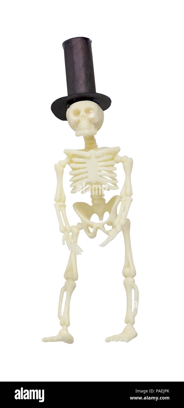 Skeleton Wearing a Formal Black Top Hat - path included - Stock Image