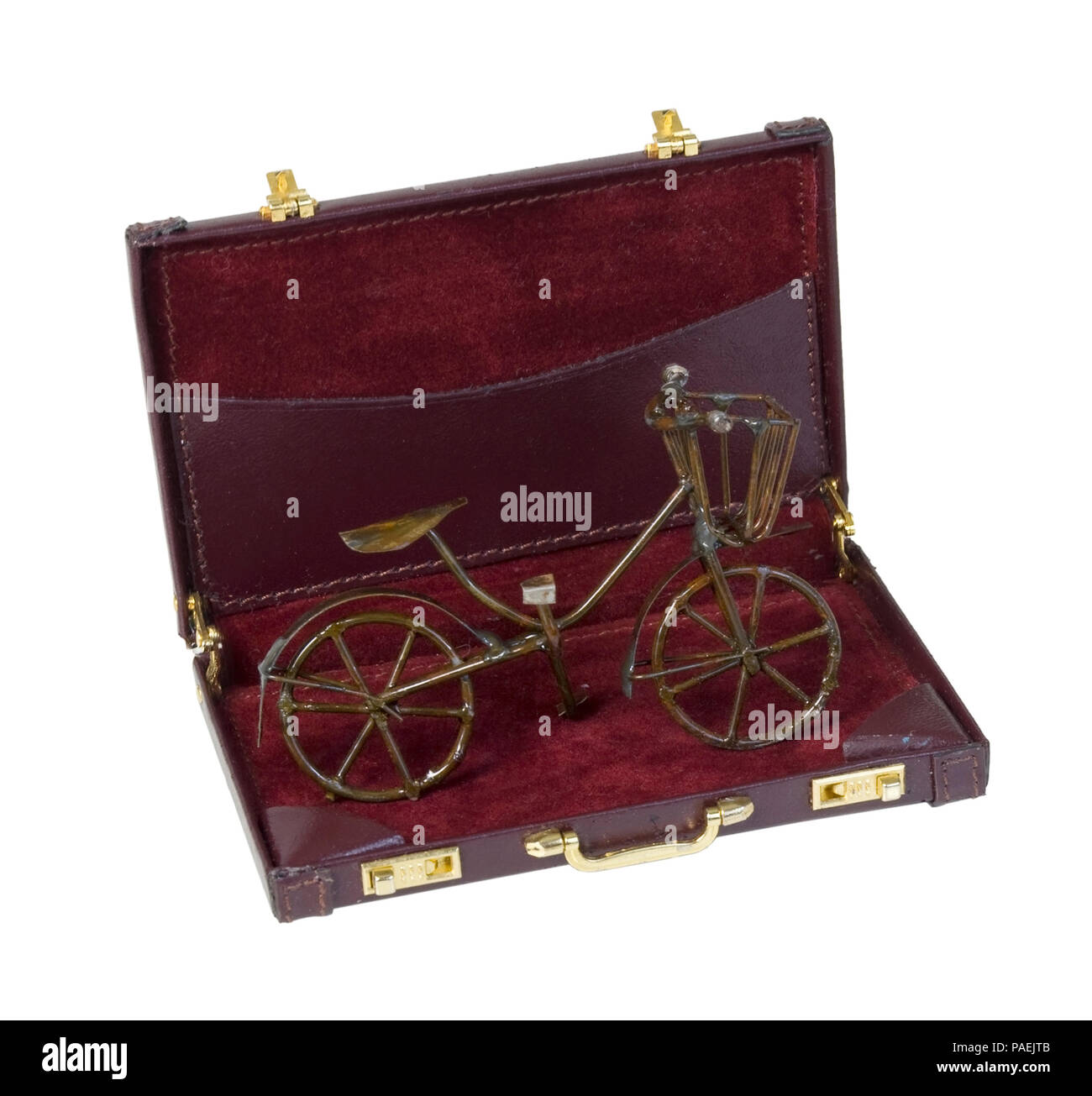 Vintage Bike used for transportation in a briefcase - path included - Stock Image