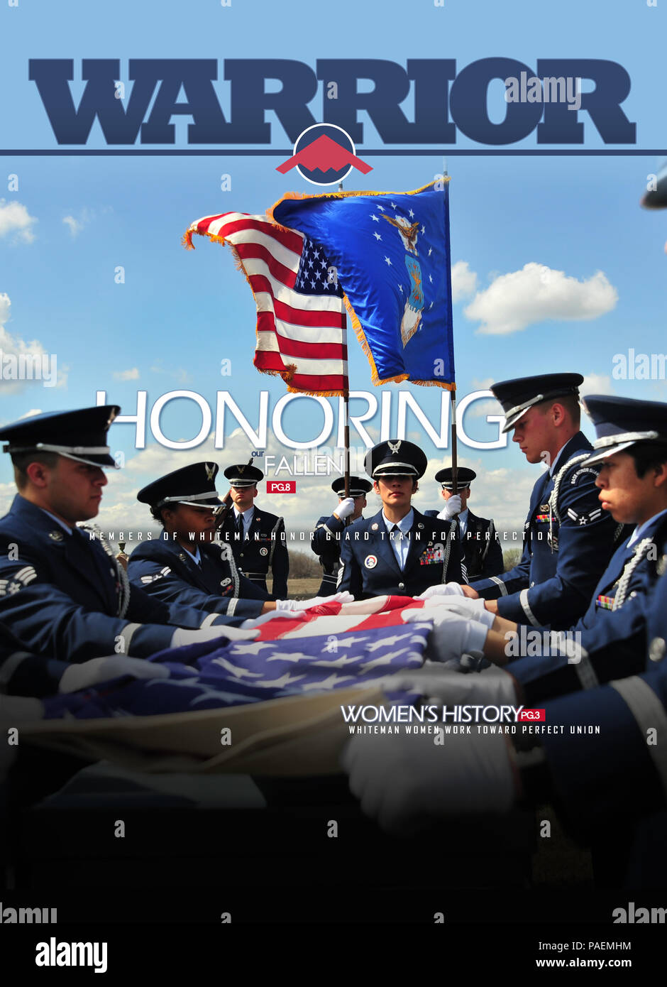 March 25, 2016 cover of the Whiteman Warrior depicting members of the Whiteman Honor Guard practicing funeral ceremonies. ( U.S. Air Force graphic by Senior Airman Jovan Banks) - Stock Image