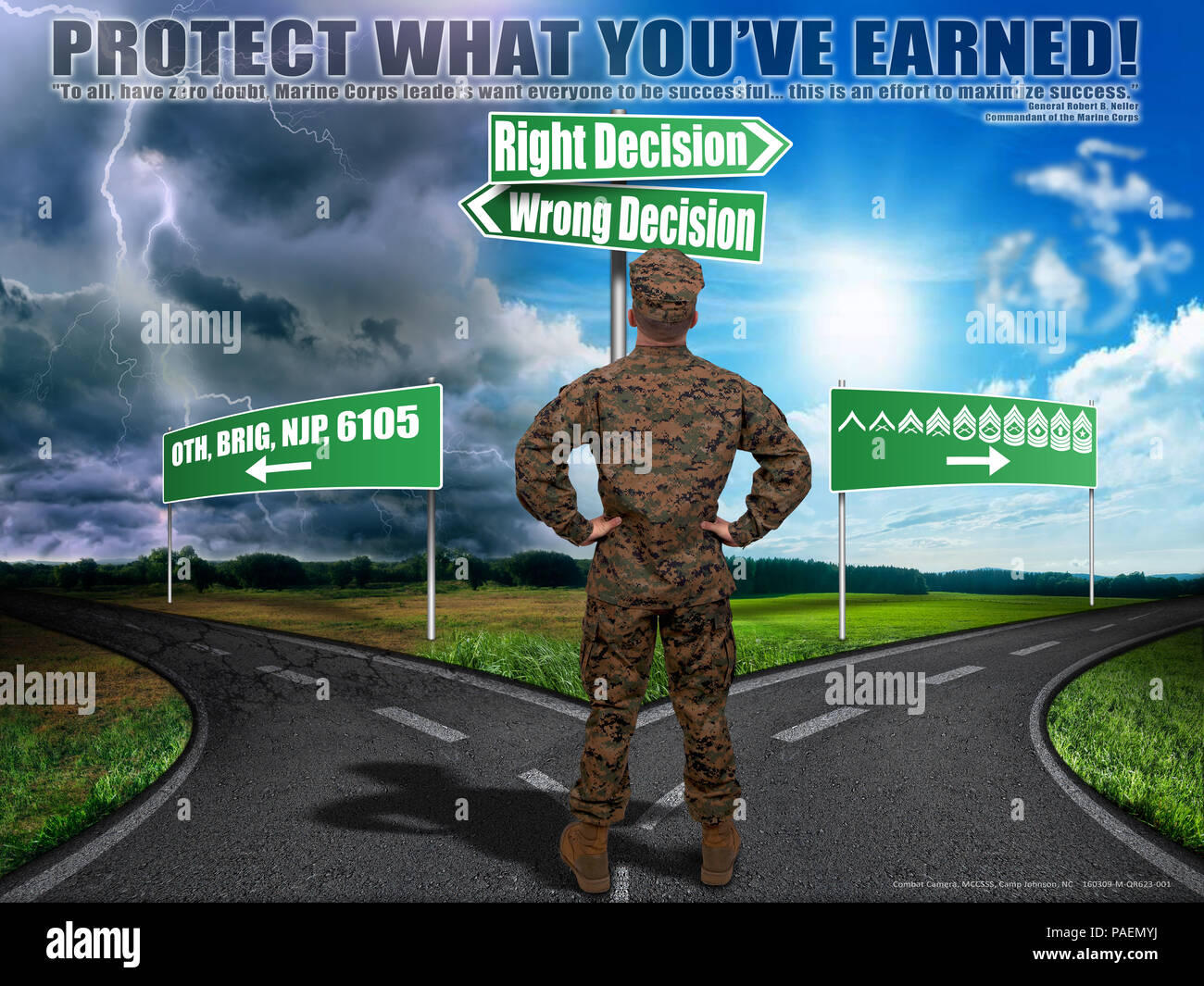 Poster created to remind Marine Corps Combat Service Support School entry level Marines and permanent personnel to protect what they have earned. It is important to make informed and correct decisions. (U.S. Marine Corps Poster by CIV Sharon McPeak) (Released) - Stock Image