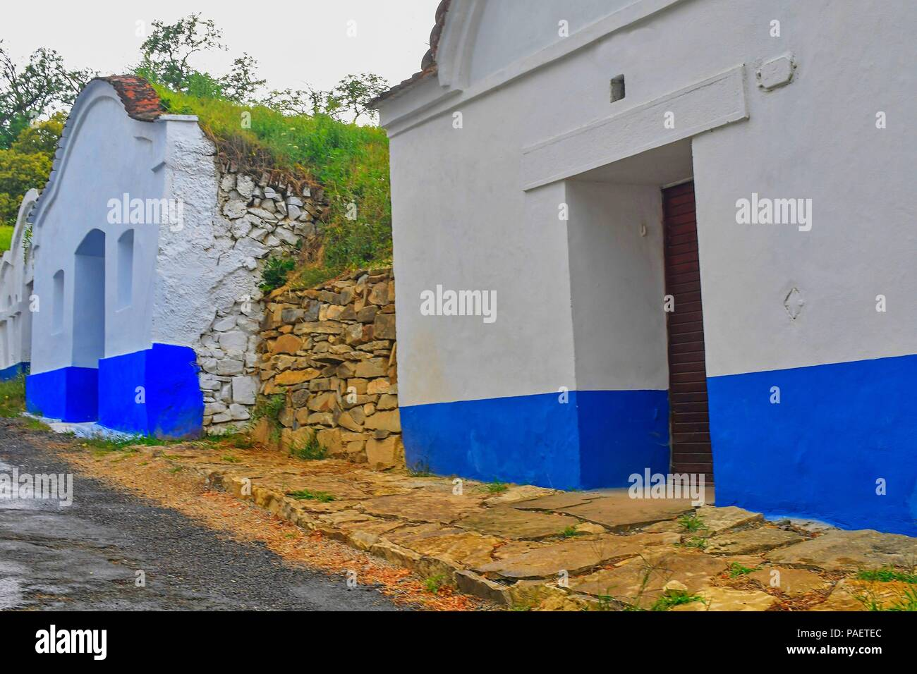 Traditional Wine Cellars - Plze, Petrov, Czech Republic, Europe. Wine lore and folklore. Moravian wine cellars. Stock Photo