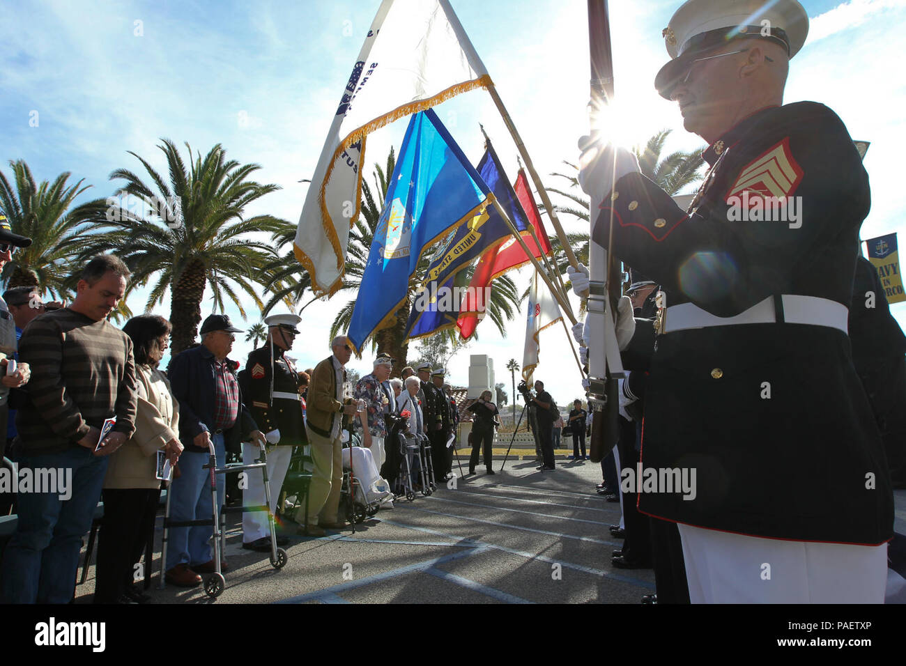 SAN DIEGO, Calif. (Dec. 7, 2015) Riverside National Cemetery All Service Color Guard present colors during 9th Annual Pearl Harbor Remembrance Day at Naval Weapons Station Seal Beach (NWSSB) Detachment Norco, home of Naval Surface Warfare Center (NSWC), Corona Division. Held near the historic Lake Norconian Conference Center, the event marks the 74th anniversary of the Japanese attack on Pearl Harbor and 74 years of Navy presence in Riverside County, first as a naval hospital serving the wounded from Pearl Harbor, and currently as the Navy's independent assessment agent. - Stock Image