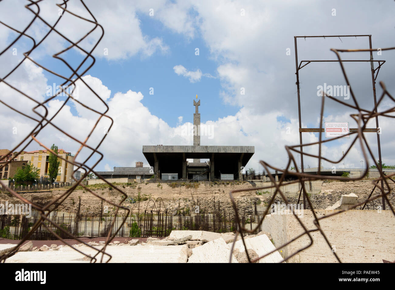 Constructionwork at the open air museum at the Cascade complex in Yerevan, Armenia. - Stock Image