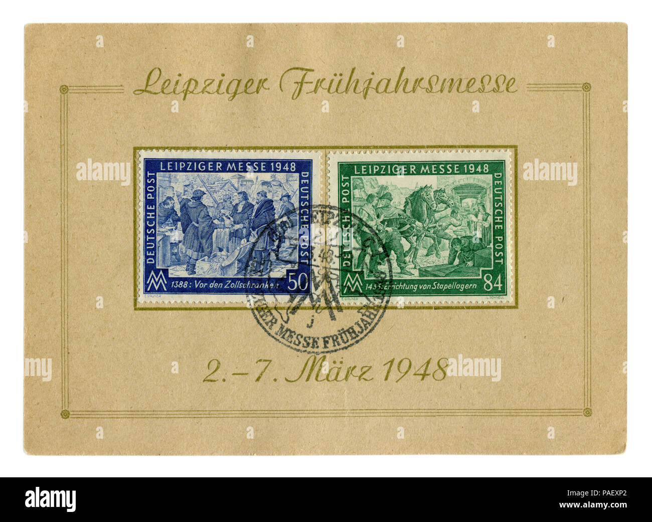 German historical stamps sheet: spring Leipzig Trade Fair with special cancellation, 7 March 1948, medieval merchants trade in the market of the city - Stock Image