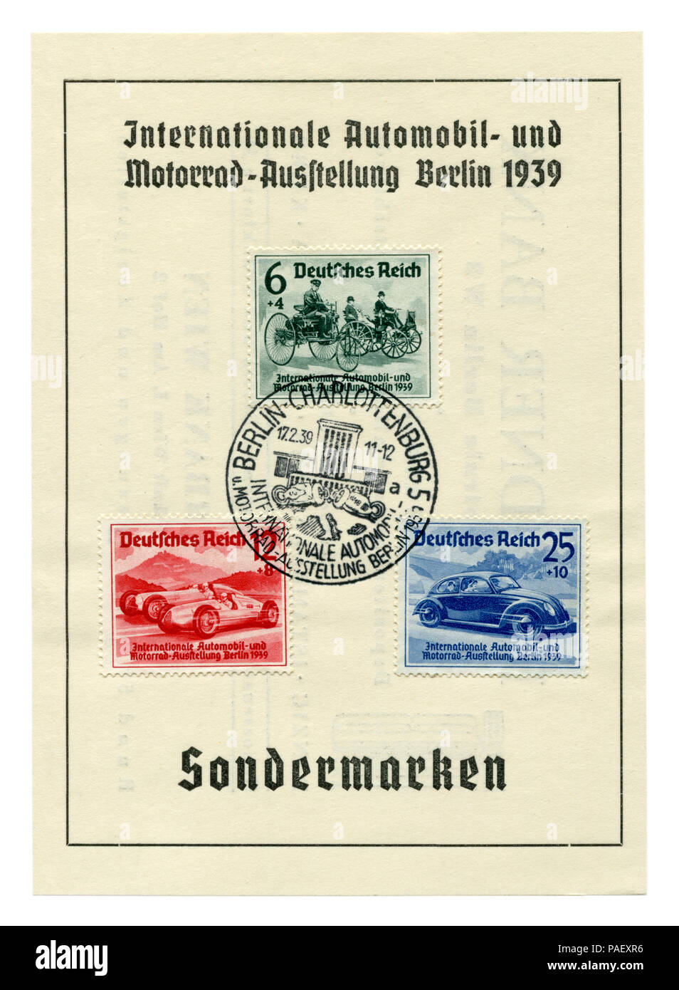 German historical stamps: sheet 'International auto and motor show in Berlin (IAA) 1939' with special cancellation Berlin-Charlottenburg, 17 February - Stock Image