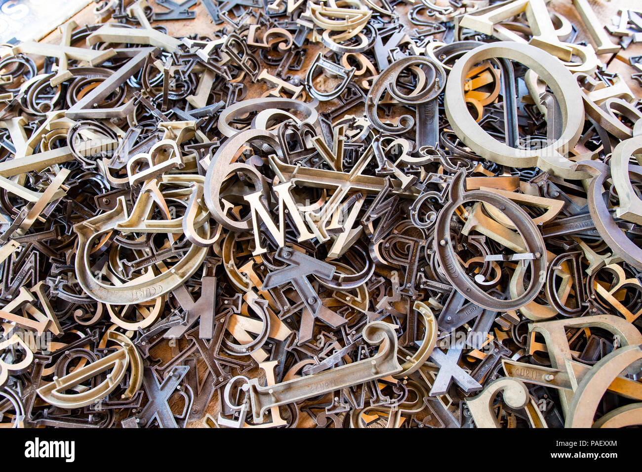 Bunch of old rusty metal letters - Stock Image