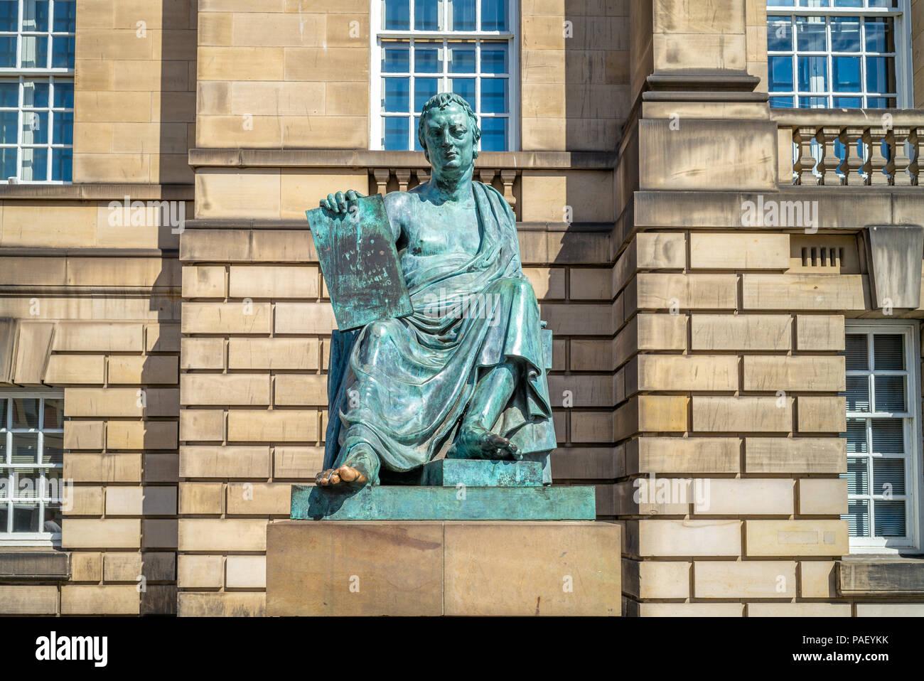 Statue of David Hume, on Royal Mile in Edinburgh Stock Photo