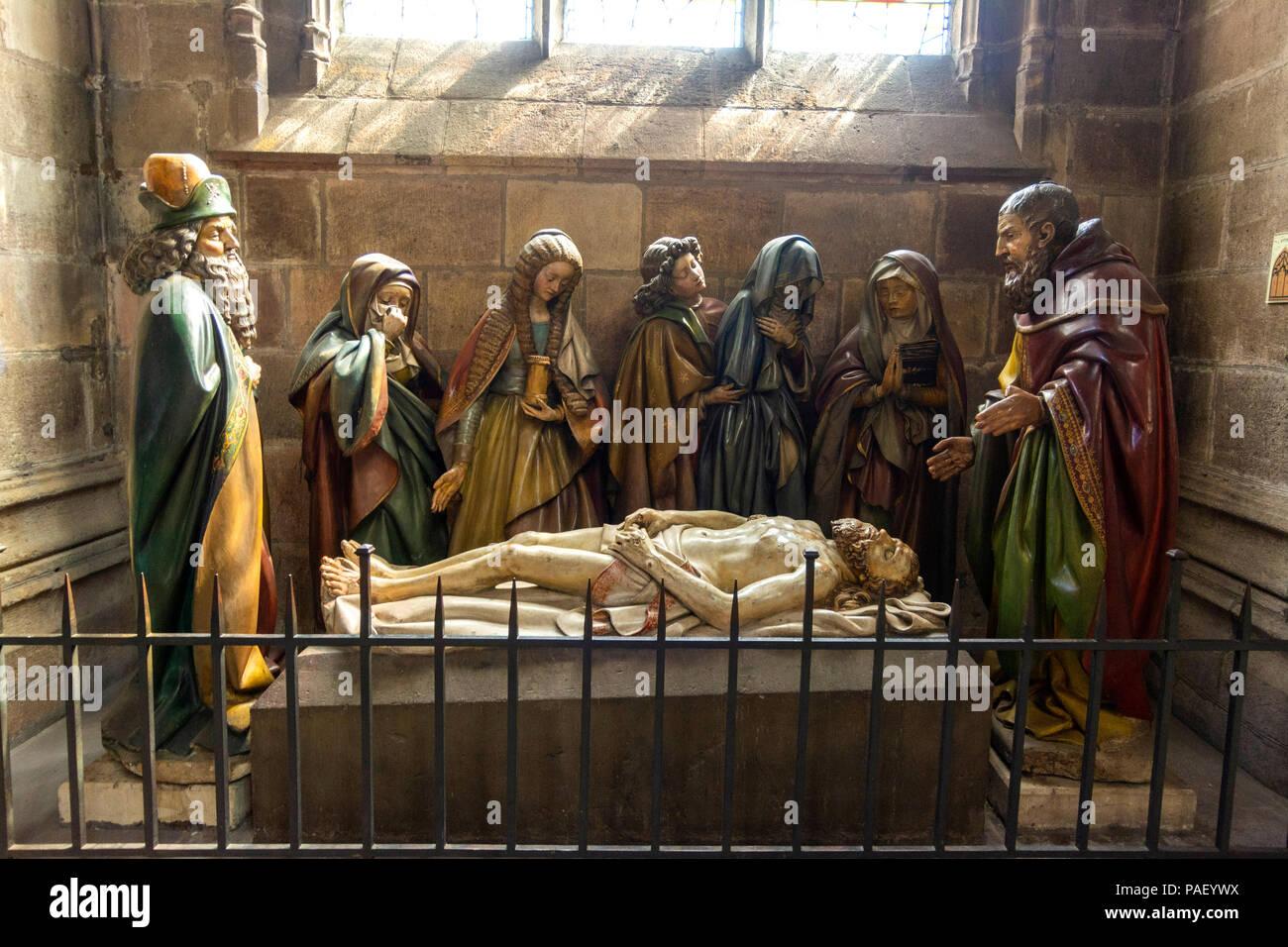 Entombment, Cathedral Basilica Notre-Dame-de-l'Annonciation, Allier department, Auvergne-Rhône-Alpes, France Stock Photo