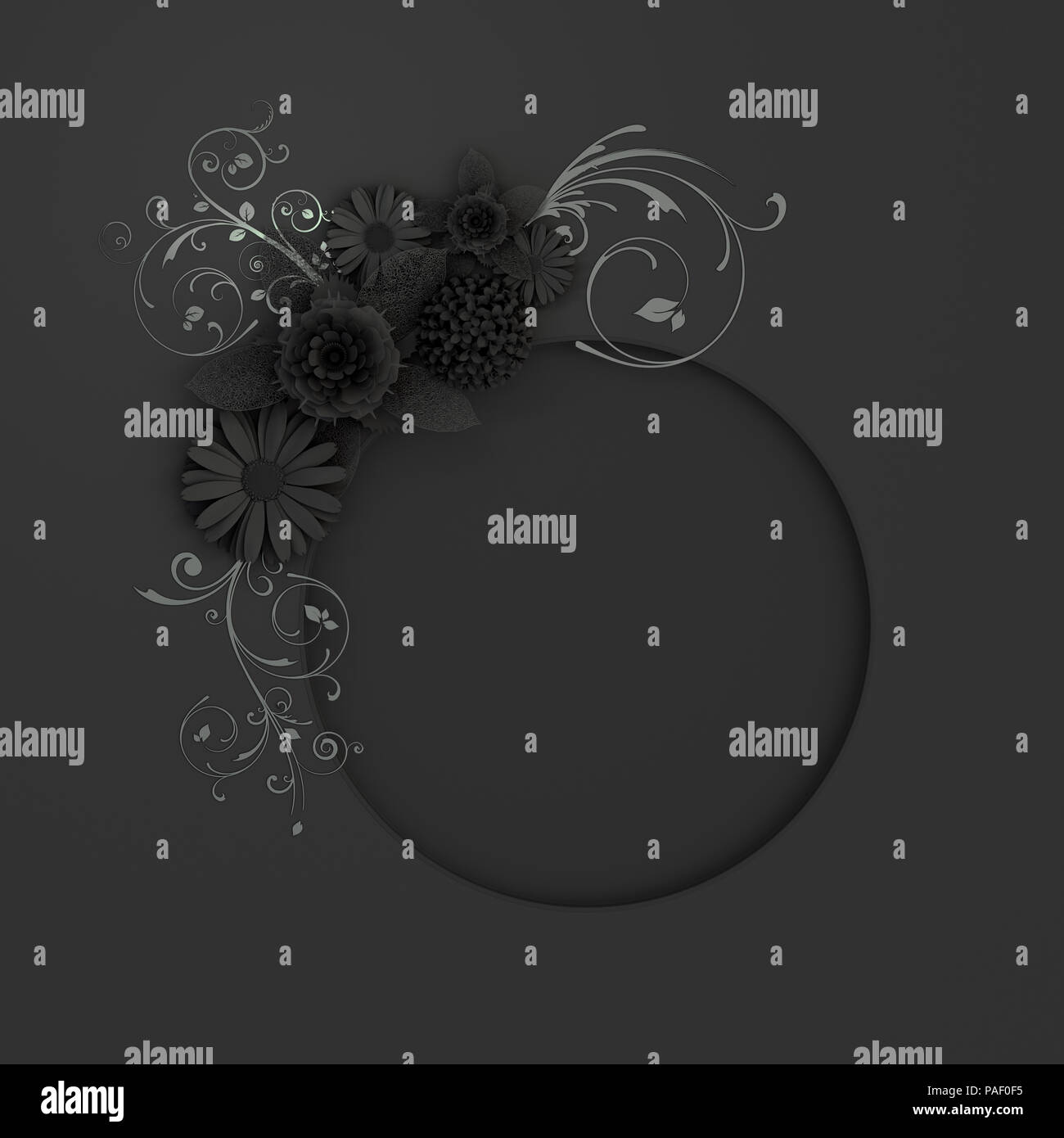 Black Paper Flower Decoration Around Round Frame Greeting Card