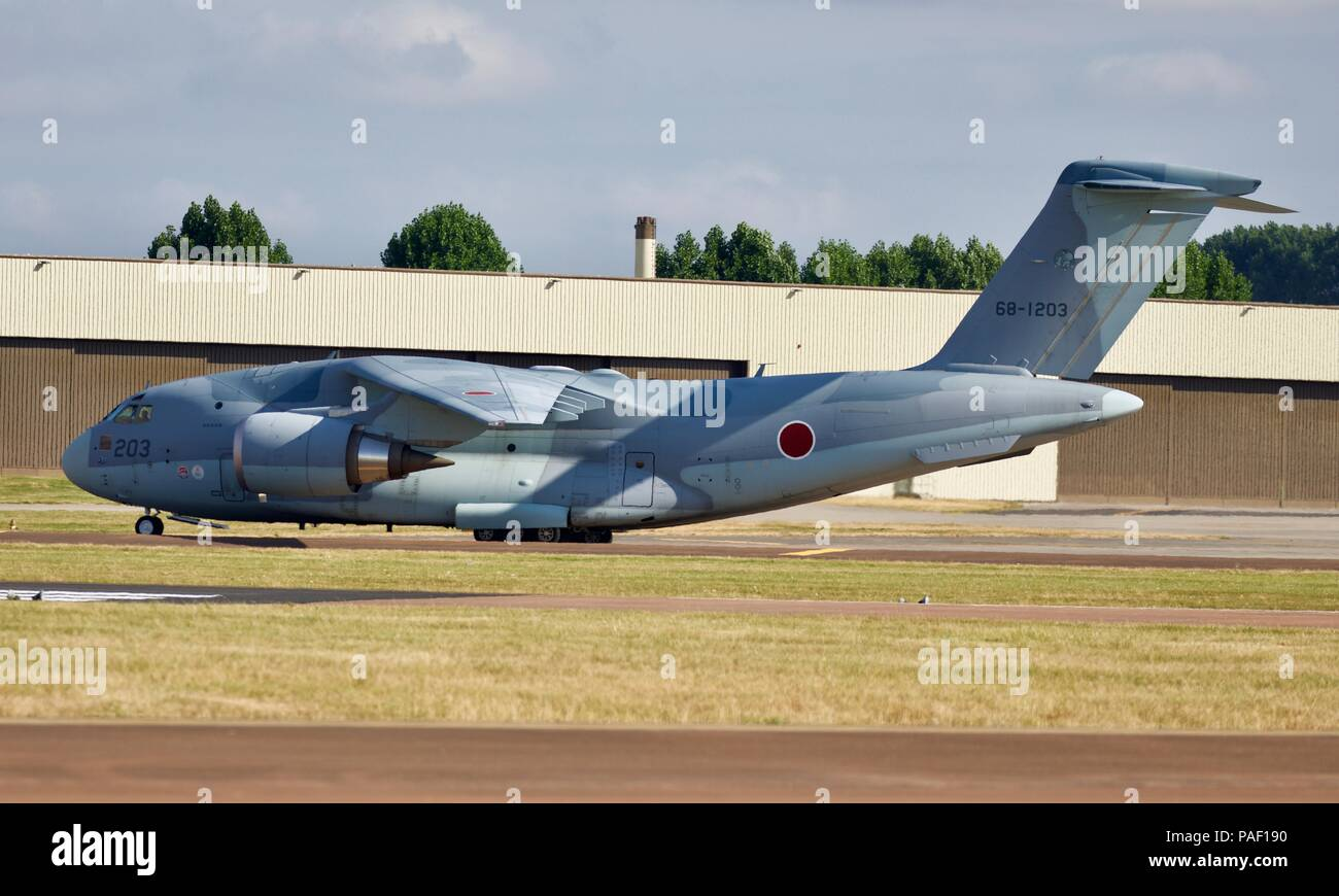 Japanese Kawasaki C-2 Airlifter making its debut visit to the United Kingdom for the 2018 Royal International Air Tattoo - Stock Image