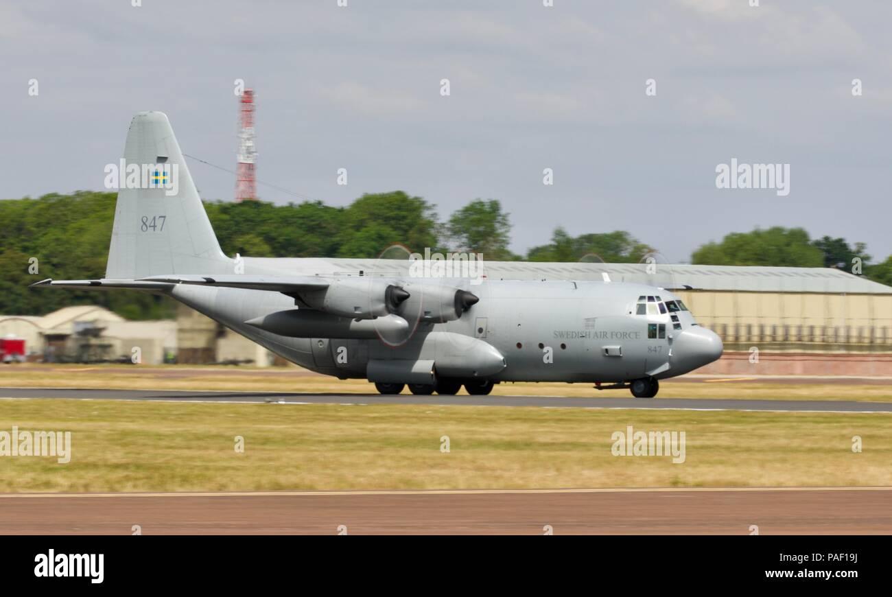 Swedish Air Force Lockheed C-130 Hercules at RAF Fairford - Stock Image