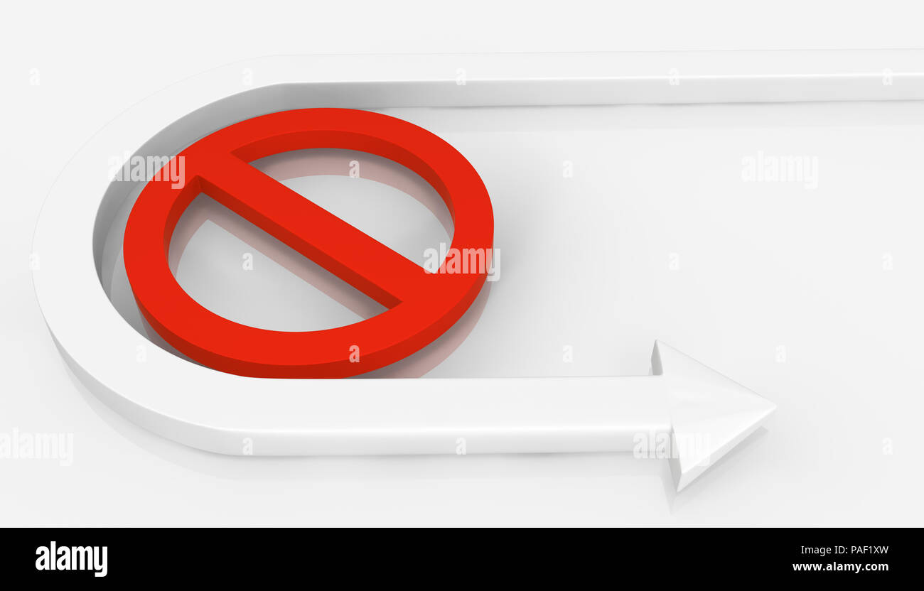 Arrow symbol off limits restriction bend around, 3d illustration, horizontal, over white - Stock Image