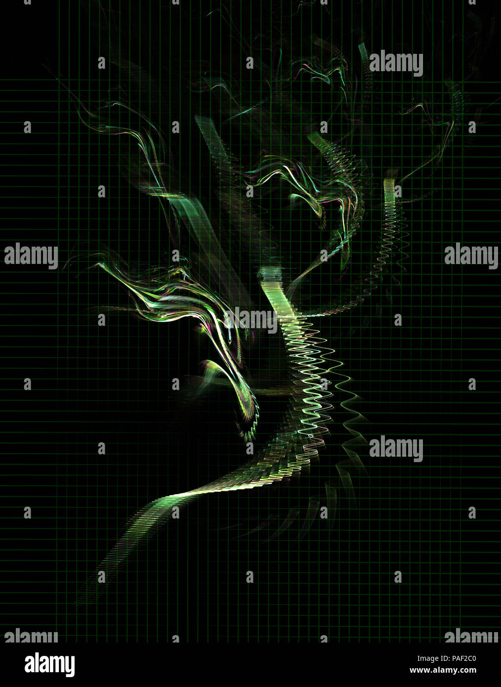 Green wave signal bunch abstract, vertical, over black background - Stock Image