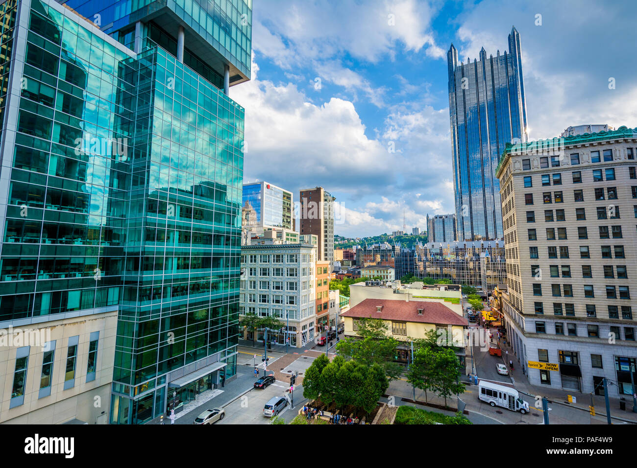 View of modern skyscrapers in downtown Pittsburgh, Pennsylvania Stock Photo