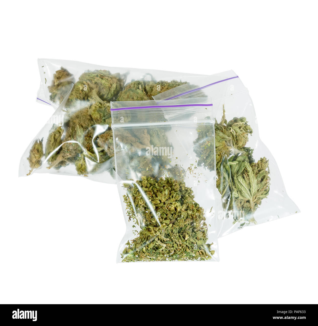 Therapeutic and medicinal cannabis plastic bags - Stock Image