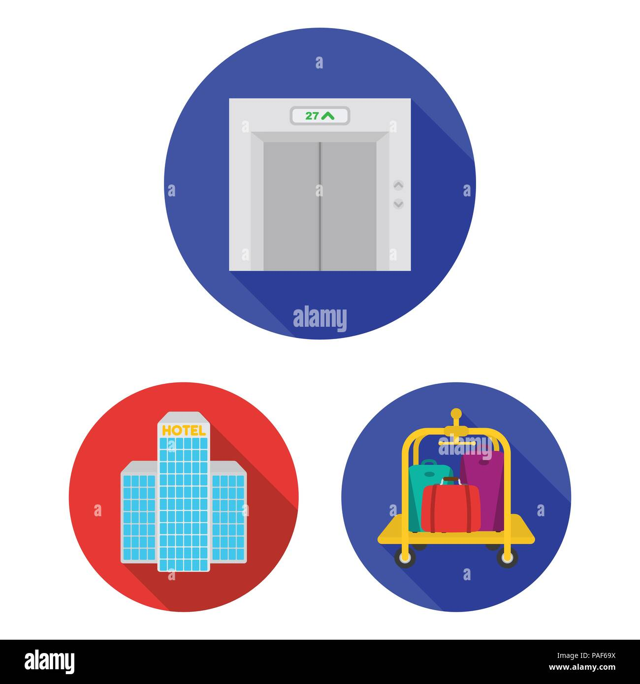 Hotel And Equipment Flat Icons In Set Collection For Design Hotel