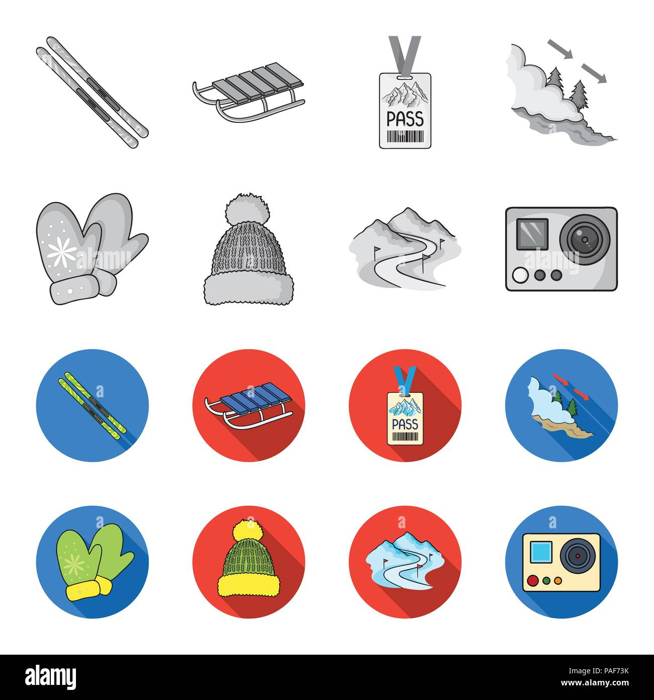 Mittens, warm hat, ski piste, motion camera. Ski resort set collection icons in monochrome,flat style vector symbol stock illustration . - Stock Image