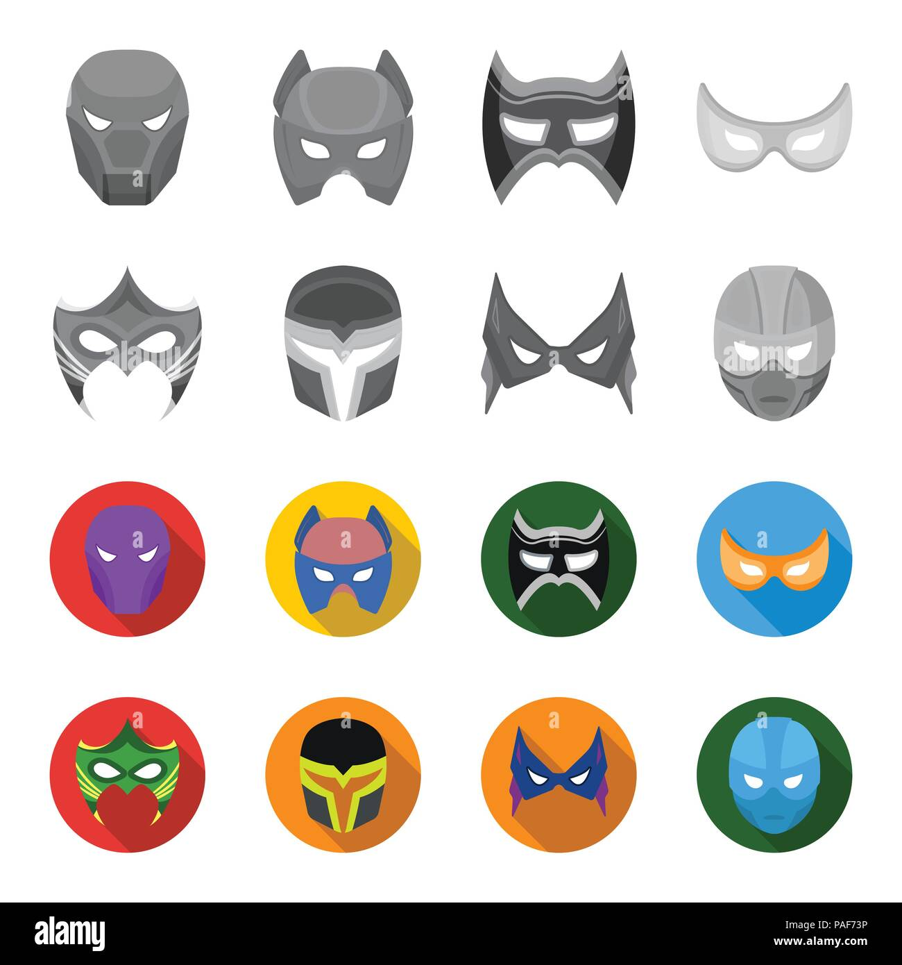 Mask On The Head And Eyes Super Hero Mask Set Collection Icons In
