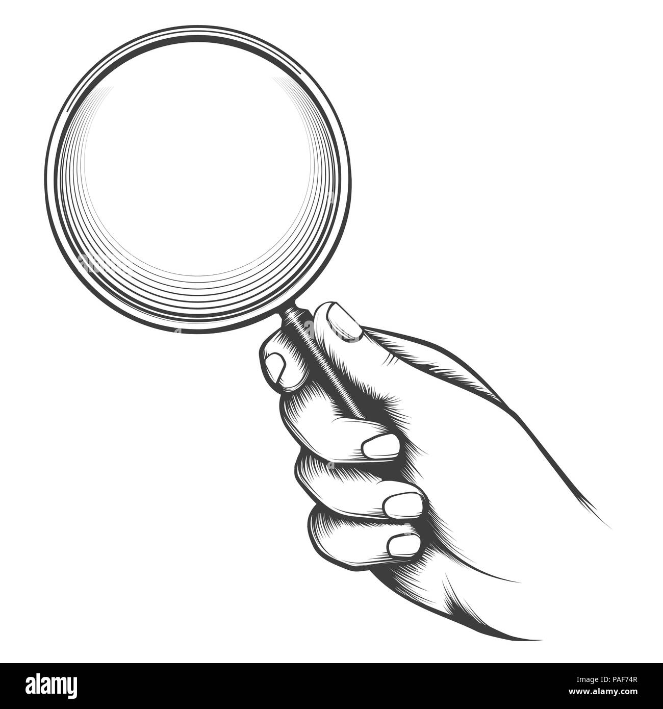 Vintage magnifier glass. Victorian man hand old sketch with magnifying glass, detective hand retro drawing vector illustration Stock Vector