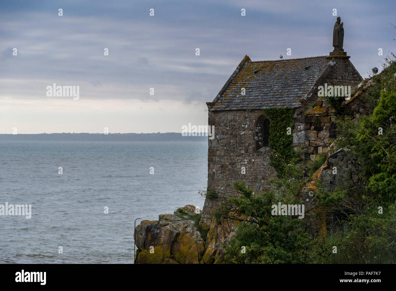 A building on the southern tip of the famous island of Mont St. Michel, Normandy, France. Stock Photo