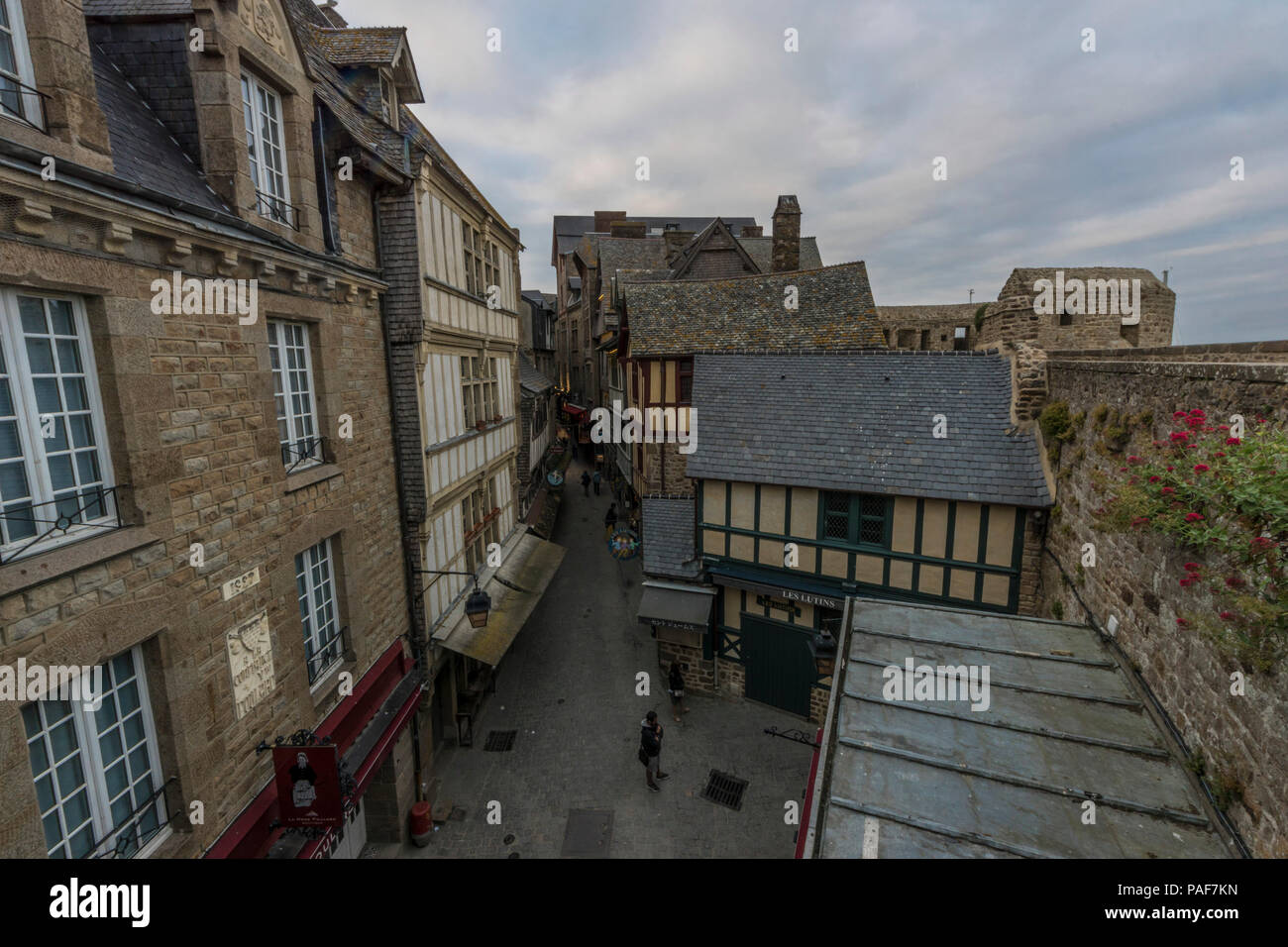 Mont St. Michel, Normandy, France. The famous town on the island, connected to the mainland only by a single bridge. Stock Photo
