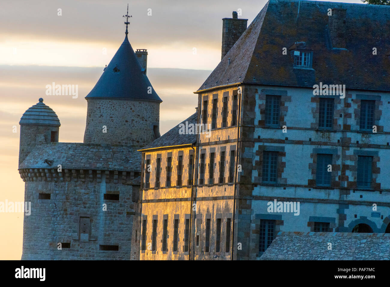 Mont St. Michel, Normandy, France. the southern edge of the Island at dusk. Stock Photo