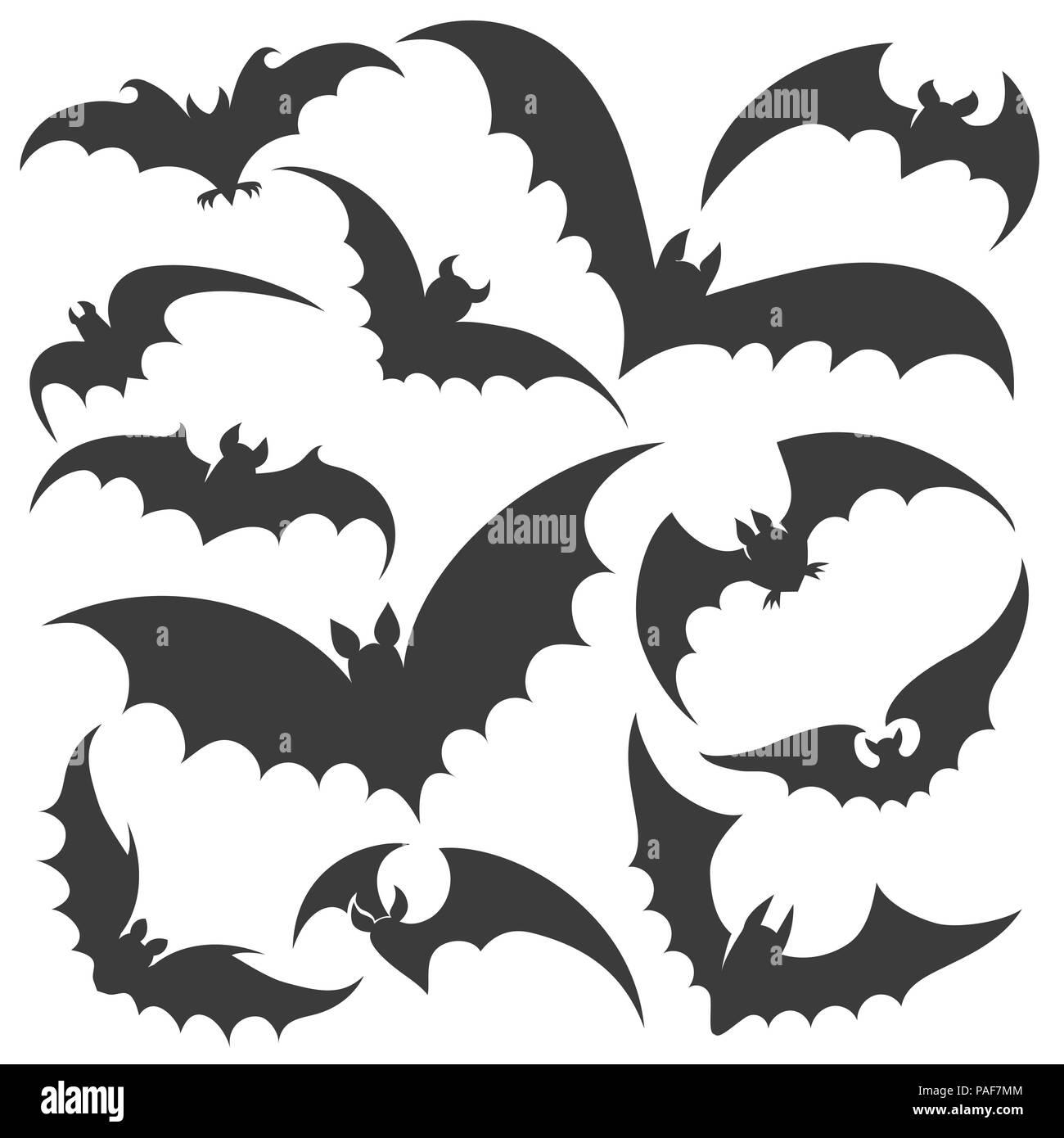 Halloween Vector Black And White.Bat Silhouettes Vector Bats Silhouette Set Halloween Scary Night