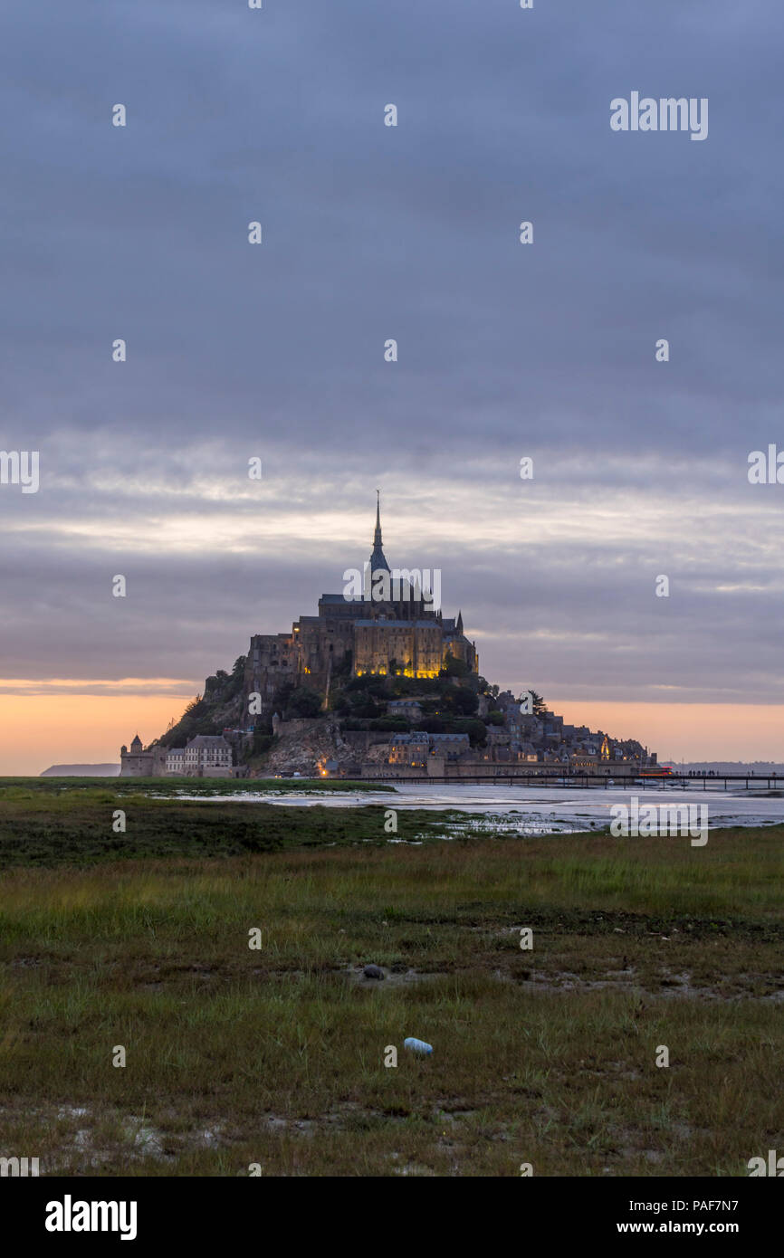 Mont st. Michel, Normandy, France. The famous island and abbey at dusk Stock Photo