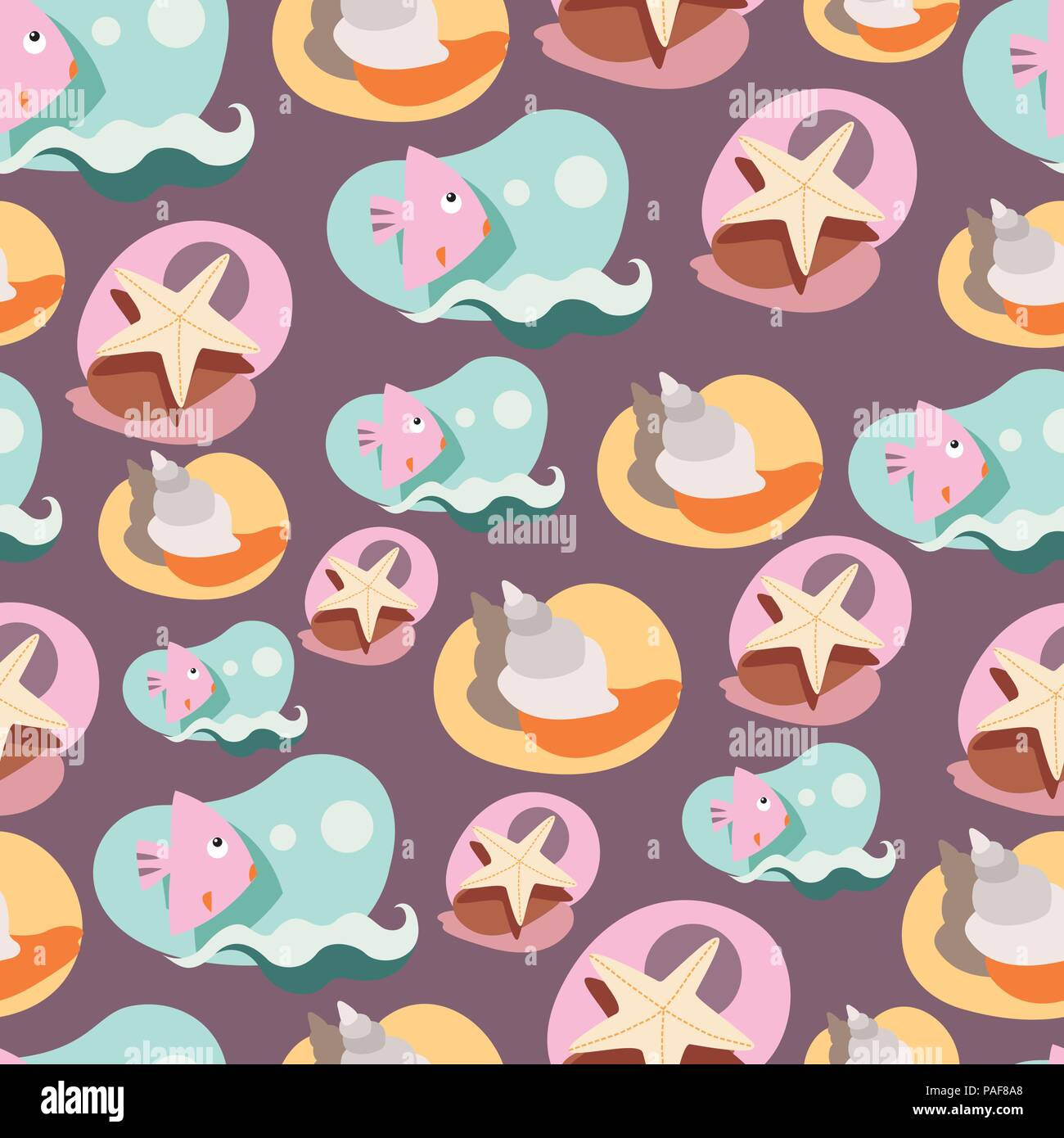 Seamless background pattern with lovely cartoon fishes - Stock Vector