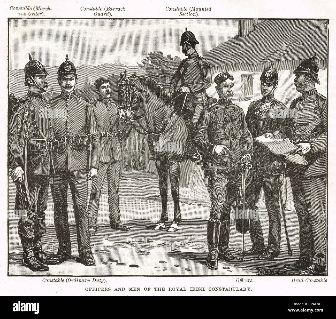 Officers and men of the Royal Irish Constabulary, RIC, in the 19th Century Stock Photo