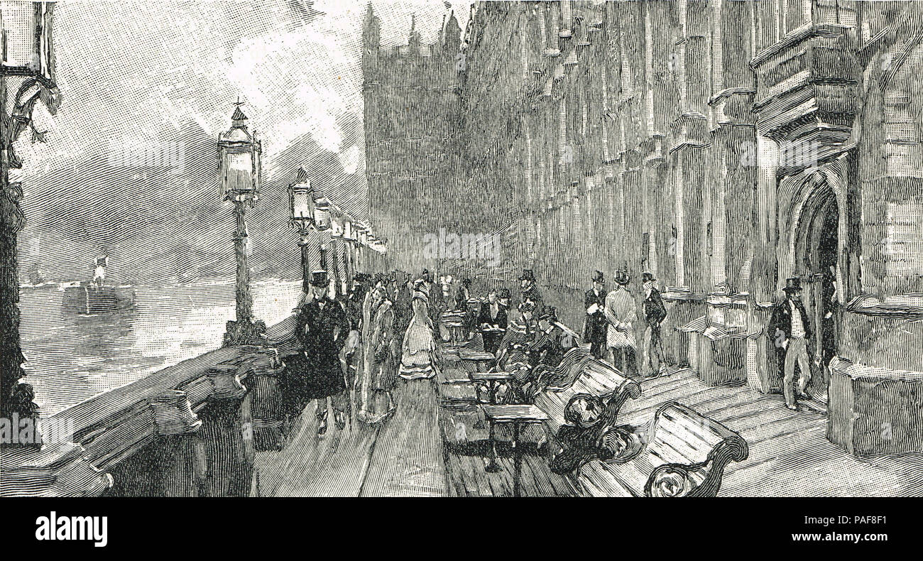 The Terrace, Westminster Palace in the 19th century - Stock Image