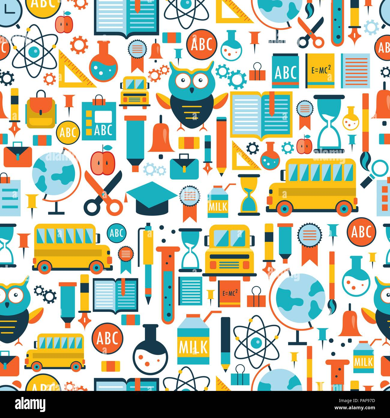 Back to school seamless background pattern Stock Vector