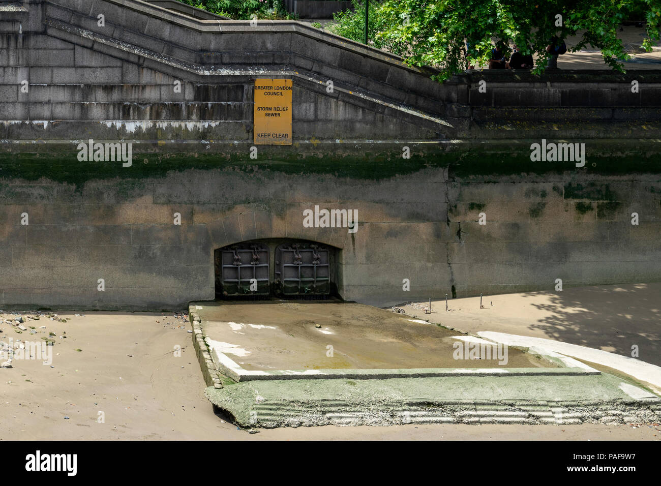 Storm relief sewer beside Lambeth Bridge, London - Stock Image
