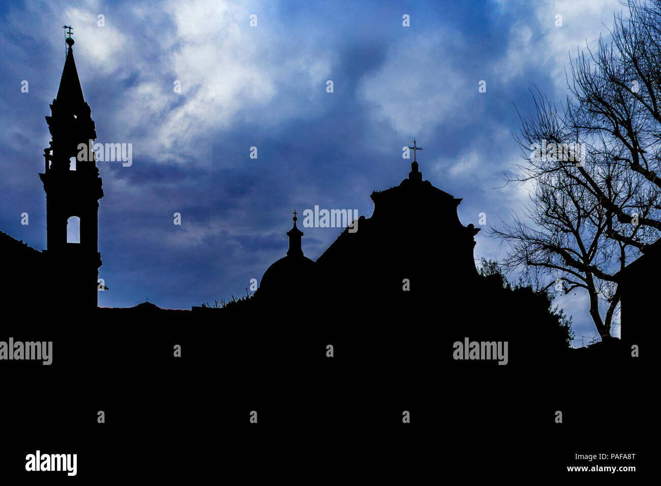 Silhouette scene at famous piazza santo spirito at oltrarno district in florence city, Italy - Stock Image